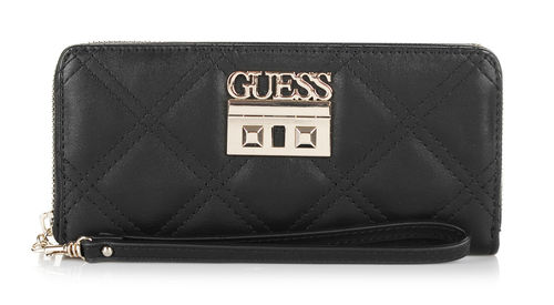 GUESS STATUS Large Zip Around Schwarz, Damen-Geldbörse Portemonnaie Wallet