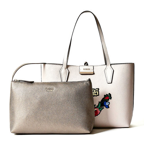 GUESS BOBBI Inside Out Tote Nude Pewter, Damentasche Handtasche Schultertasche
