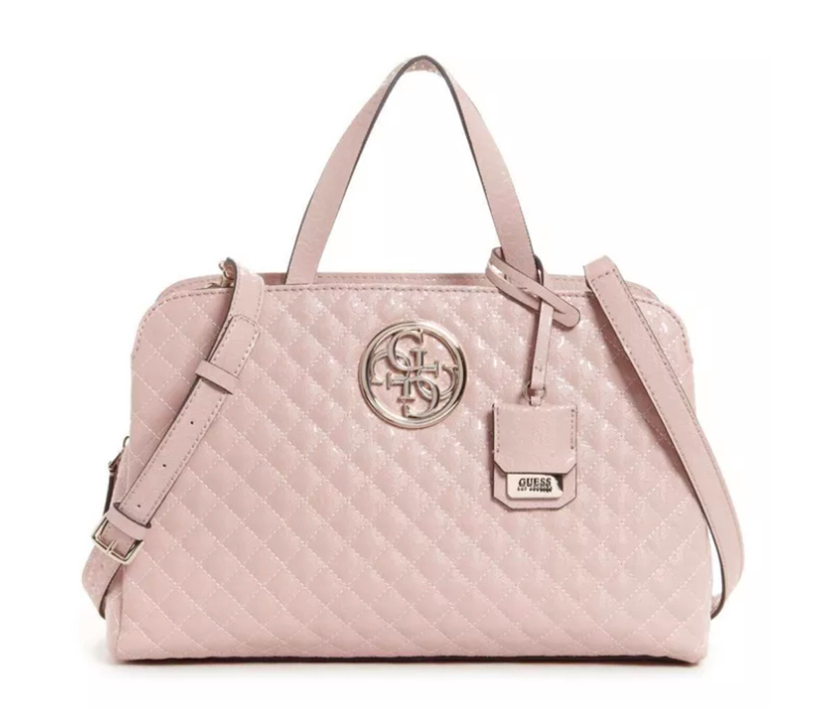 GUESS GIOIA Girlfriend Satchel Rosa, Damentasche Handtasche Henkeltasche