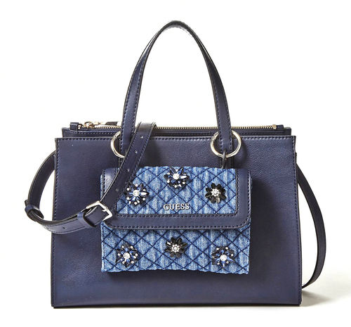 GUESS SIENNA 2 in 1 Society Satchel Blue, Damentasche Handtasche Henkeltasche